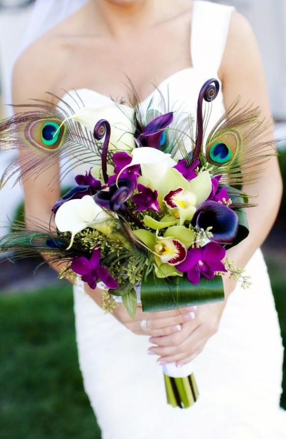 wedding photo - Peacock Feather Wedding Bouquet ♥ Green and Purple Bridal Bouquet