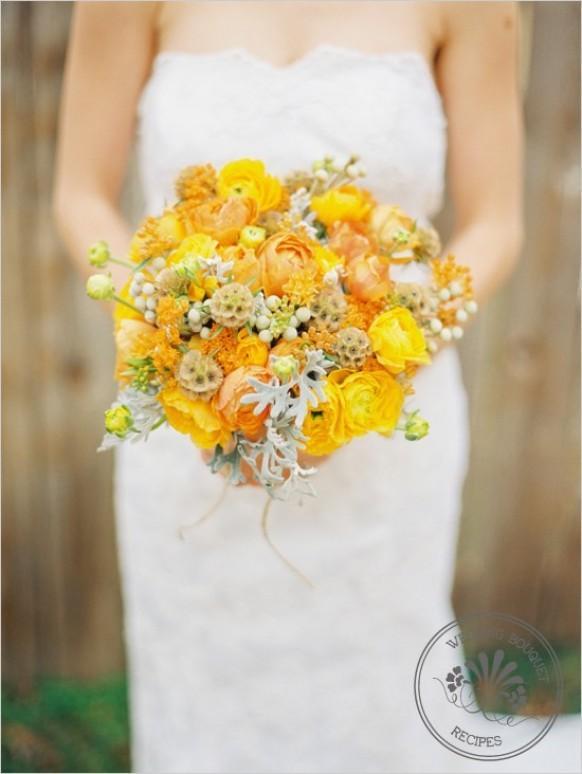 Свадебный букет желтого цвета