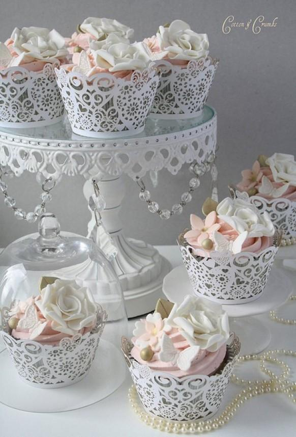Cupcake Design For Wedding : Special Yummy Wedding Cupcake Decorating   Gorgeous Lace ...
