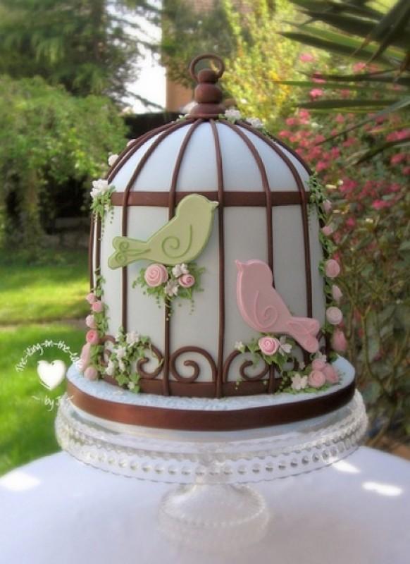 Blue Birdcage Cake Topper