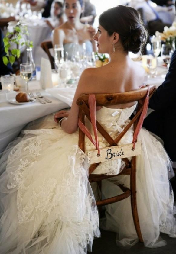 wedding photo - Rustic Wood Wedding Signs for Bride Chairs
