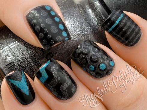 Rockabilly Nail Art Mixed Prints Nail Art Design 1079358