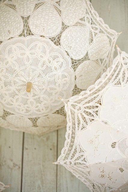 Свадьба - Великолепные Кружева цвета Слоновой кости пляжный Зонт Свадьбы Зонтик и Руку Вентилятор