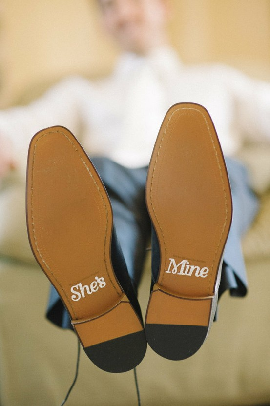 Wedding - She's Mine Wedding Shoe Stickers for Grooms