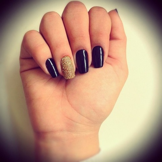 one nail different color trend weddbook black nail art design with