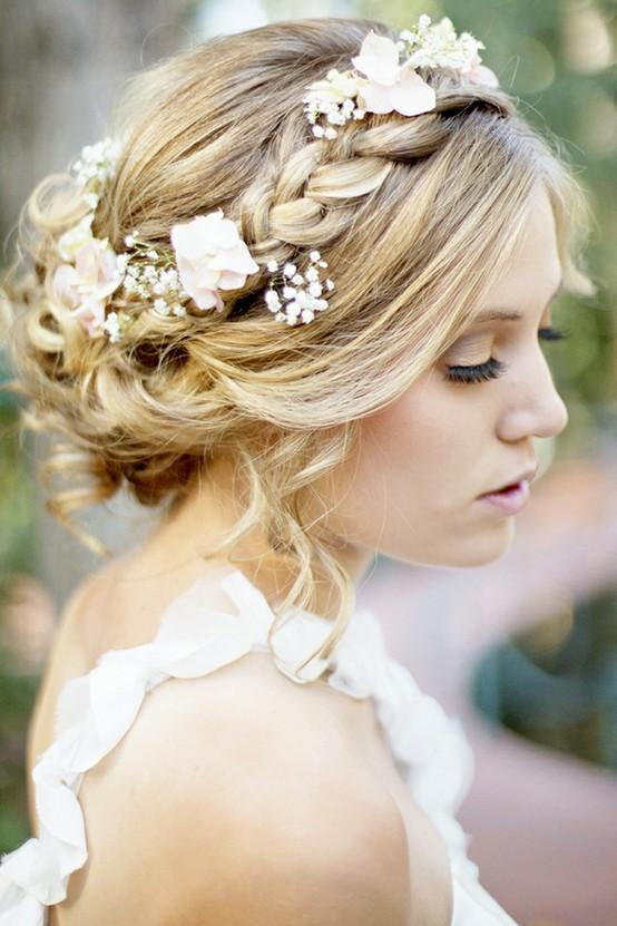 Bridal Floral Hairstyles : Floral braided crown wedding bridal hairstyle
