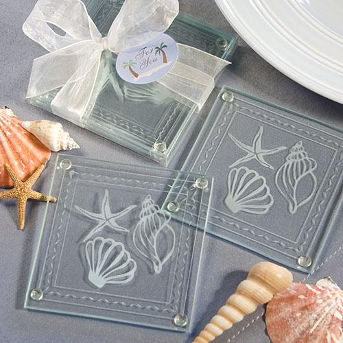 wedding beach themed glass coaster favors wedding favors