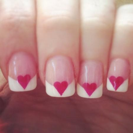 A Heart French Manicure Best And Easy Valentine S Day Nail Art
