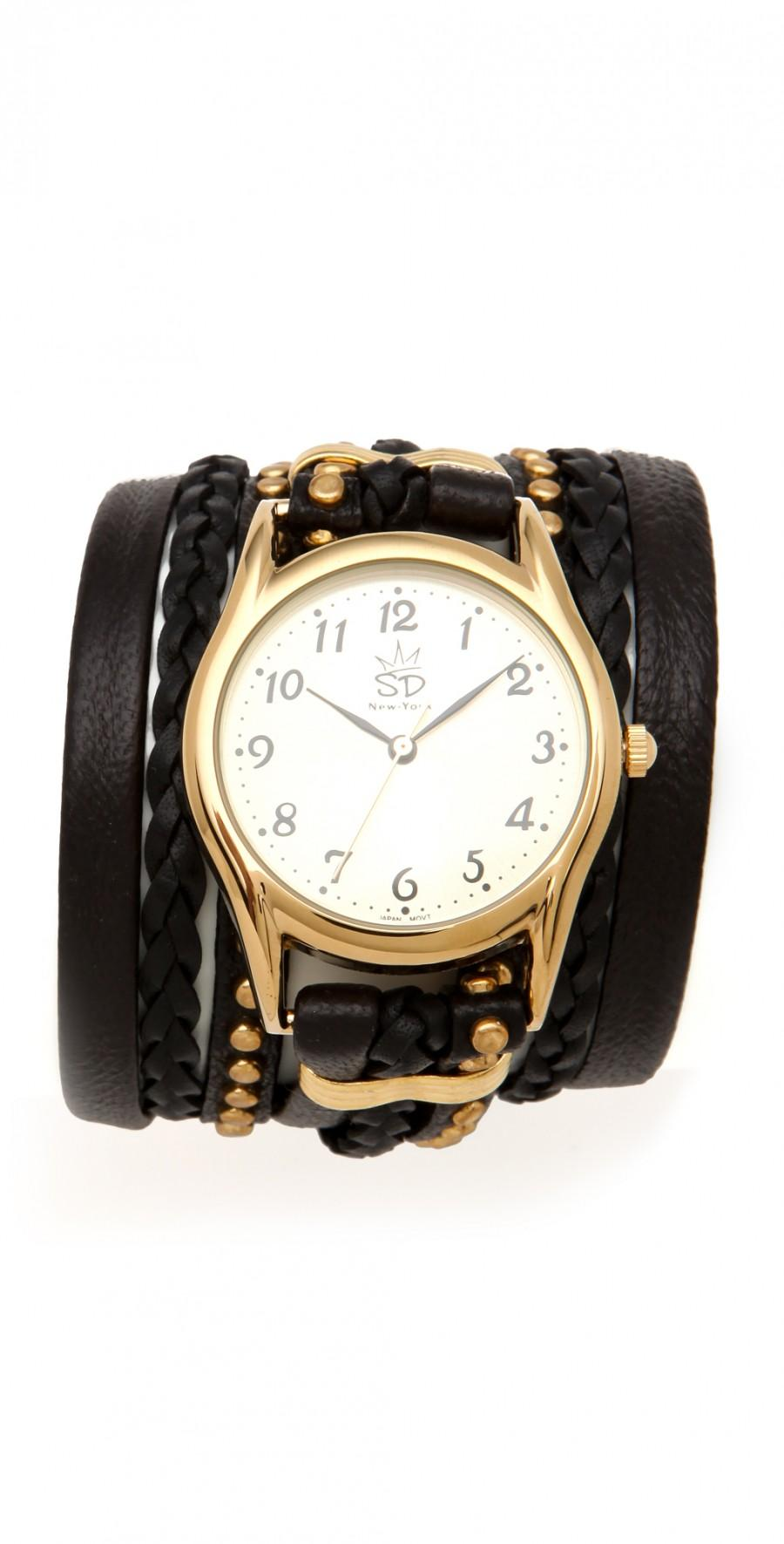 Wedding - Leather Studded Wrap Watch