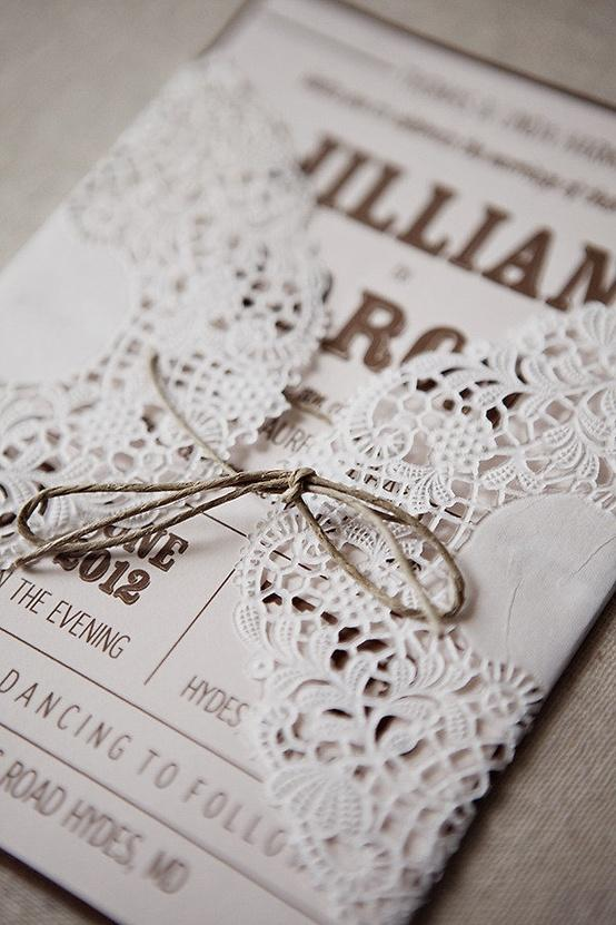 Rustic Wedding Handmade DIY Lace Wedding Invitation 1513011 – Diy Wedding Invitations Lace
