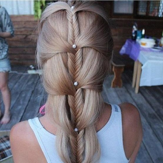 Pleasant Unique Pearly Fishtail Braid Hairstyles For Wedding Gorgeous Hairstyle Inspiration Daily Dogsangcom