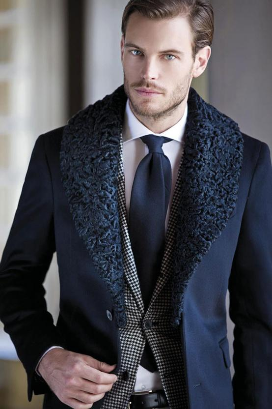 black fur collar cashmere long coat and black and white plaid suit