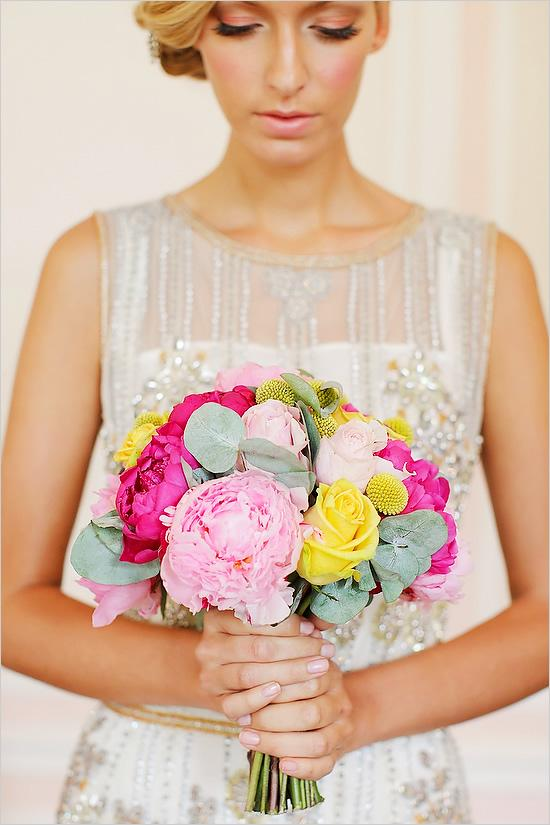 Bridal Bouquets And Wedding Flowers Pink Yellow Green Bouquet