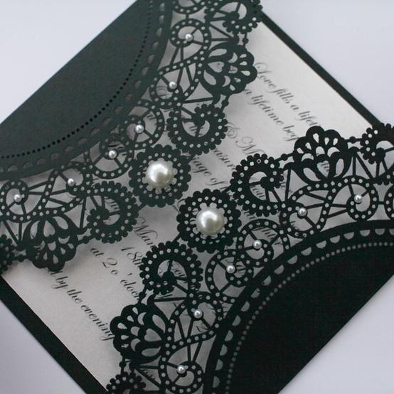 Wedding - black lace wedding invitation with pearl details