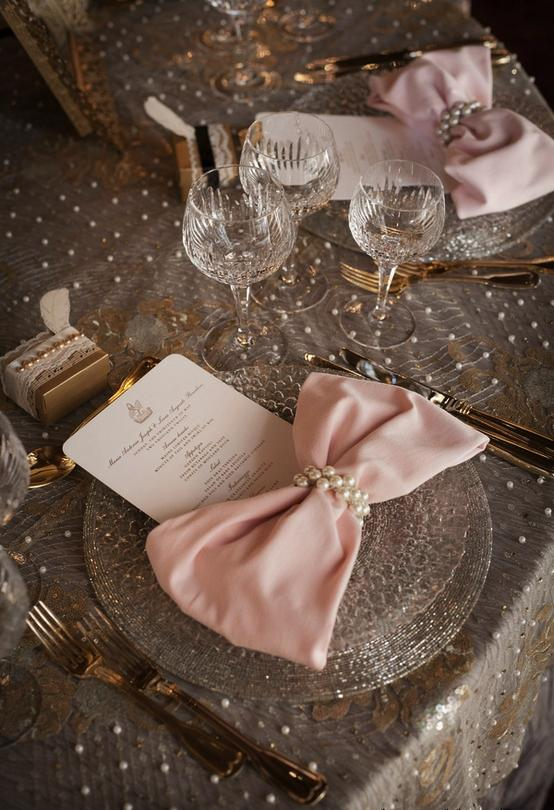 Mariage - Elegant Wedding Tablescape ♥ Pink Bow Tie Napkins, Lace and Pearl Tablecloth, and Pearl Napkin Rings Wedding Centerpiece
