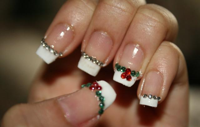 Easy And Best Christmas Nail Art Design Christmas French Manicure