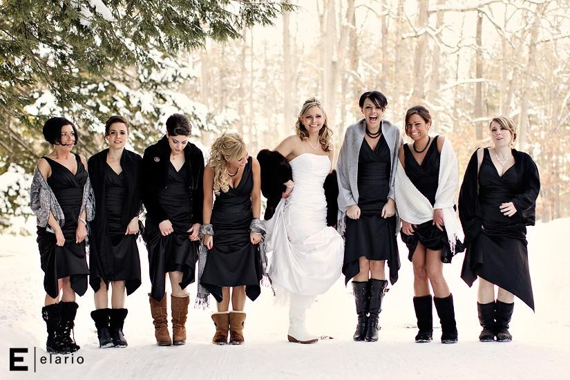 Snowy Winter Bride And Bridesmaids Photo Funny Christmas Wedding Photography Real
