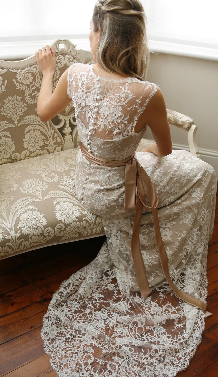 Lace back detail wedding dress
