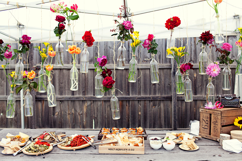 Cheap and creative garden wedding decoration ideas colorful cheap and creative garden wedding decoration ideas colorful flowers in hanging glass bottles for wedding junglespirit Image collections