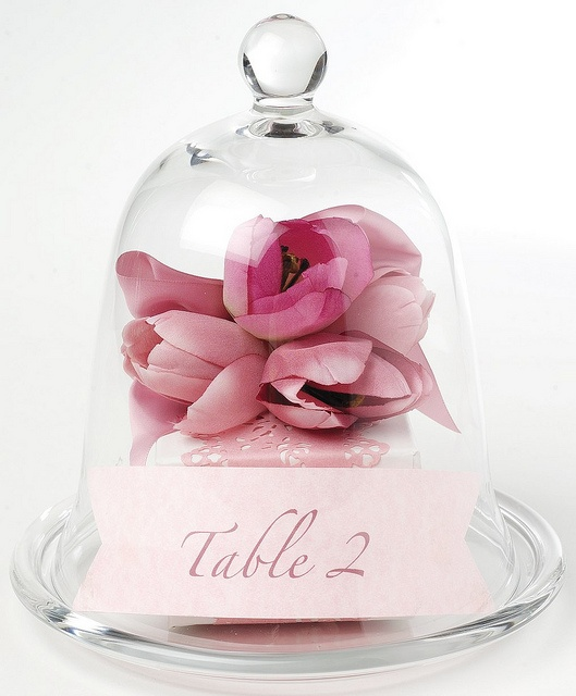 image of Romantic Glass Cloche Table Number with Pink Flower by Georgica Pond - Mel H