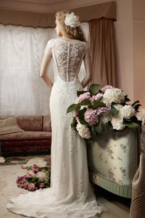 Wedding - MiaMia Alan Hannah Spring Bridal Collection ♥ MiaMia Clematis Back Button Wedding Dress with Beautiful Lace Appliques