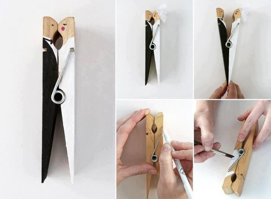 Homemade Wedding Gift Ideas For Bride And Groom: DIY Wedding Favor Made From Peg ♥ Handmade Bride And Groom