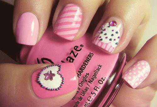 Mariage - Rose Cupcake Design Art Nail Avec Caviar Mini perles minuscules billes