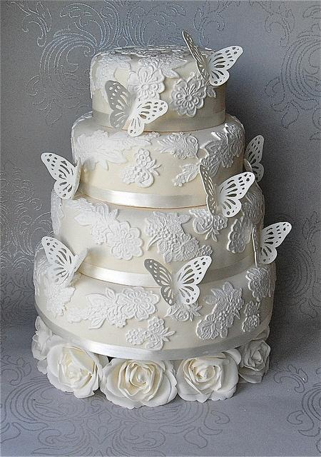 Wedding - Butterfly Lace White Wedding Cake