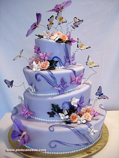 4 tiered purple topsy turvy wonky butterflies wedding cake