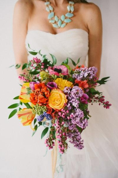 Bridal Bouquet With Color : Colorful fresh flowers and lilac wedding bouquet