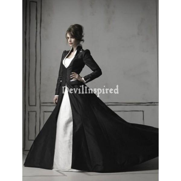 ... Blanc À Manches Longues Robe De Mariée Gothique #1920525 - Weddbook