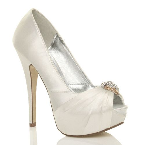 wedding shoes womens ladies bridal wedding peep toe high heel platform