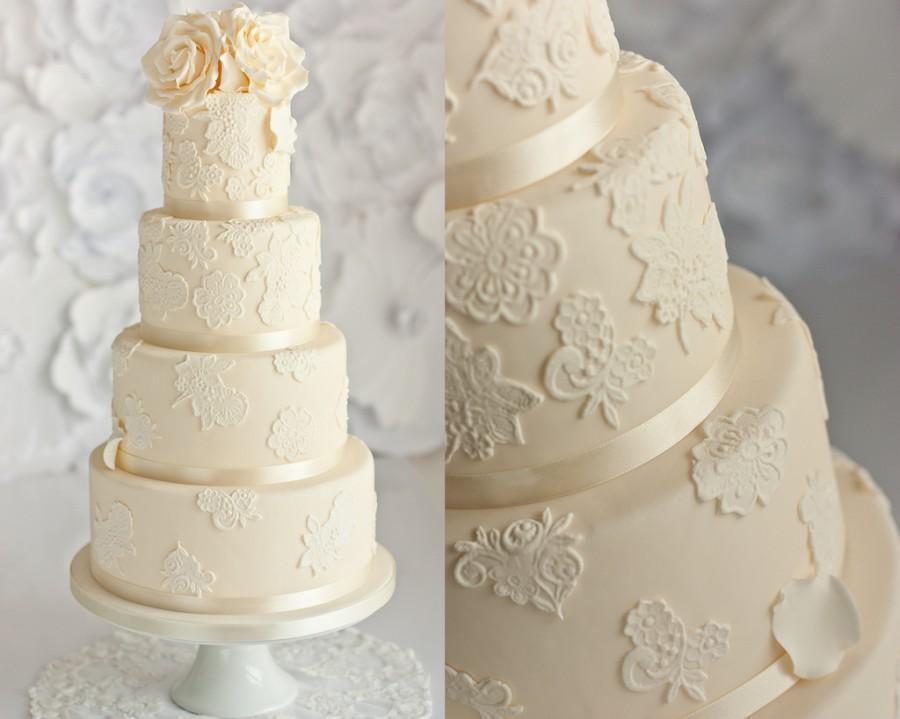 Свадьба - Слоновая кость кружева свадебного торта