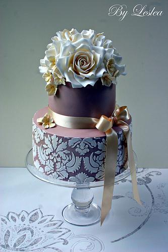 Wedding - Champagne Damask Cake