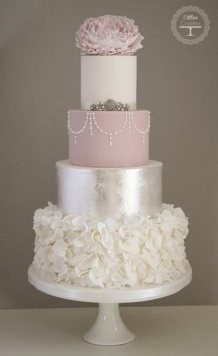 Свадьба - Серебряный лист и оборками торт