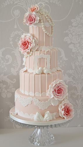 Свадьба - Урожай персика и розовый Клетка торт