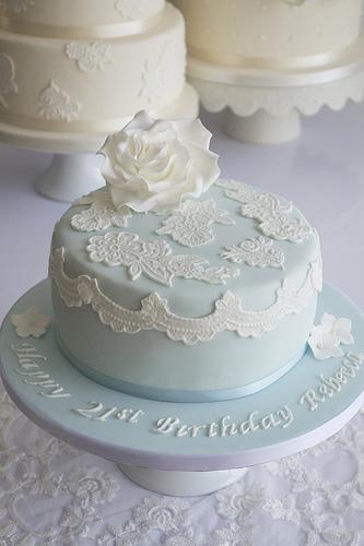 زفاف - الأزرق الرباط 21ST كعكة عيد ميلاد