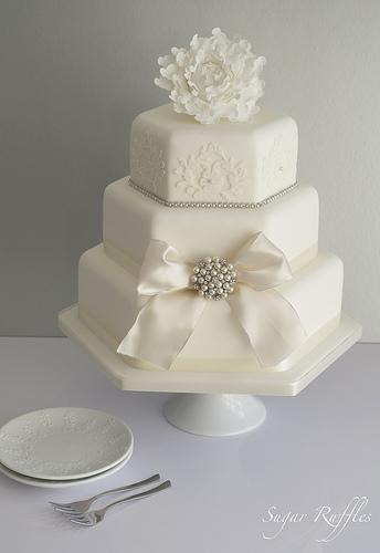 Wedding - Peony Sparkle Wedding Cake
