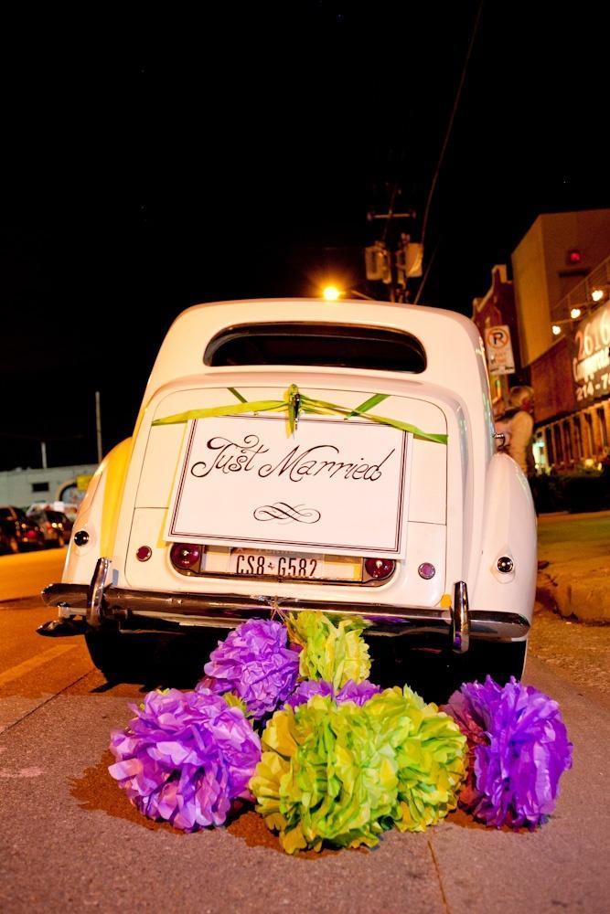 Свадьба - Purple & Green Car Poms