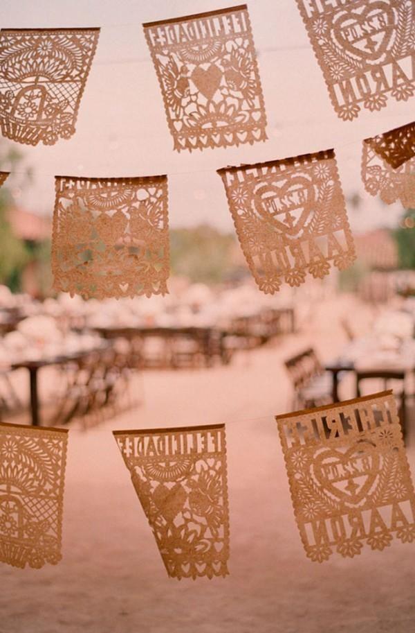 Hochzeit - Laser Cut Papel Picado Bunting.