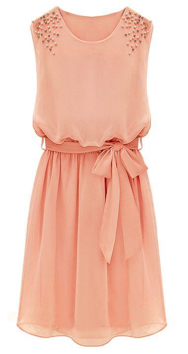 Свадьба - Pink Sleeveless Bead Belt Chiffon Sundress - Sheinside.com