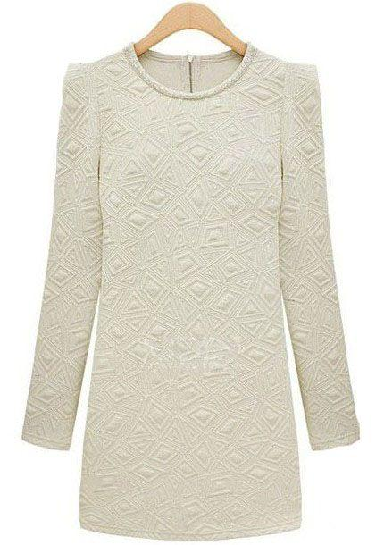 Свадьба - Beige Long Sleeve Slim Embroidered Bodycon Dress - Sheinside.com