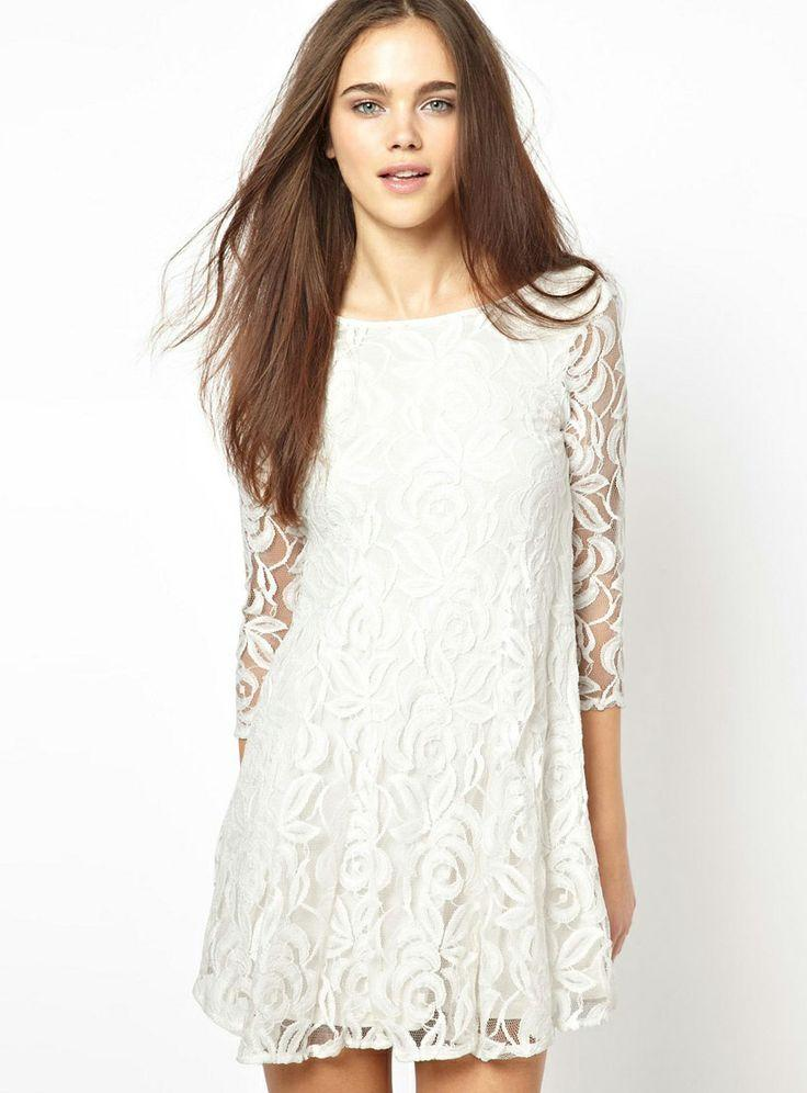 White round neck embroidered ruffle lace dress sheinside