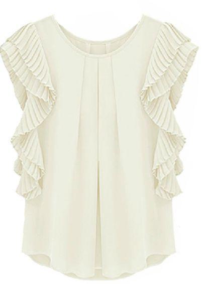 Hochzeit - White Ruffles Sleeve Loose Chiffon Blouse - Sheinside.com