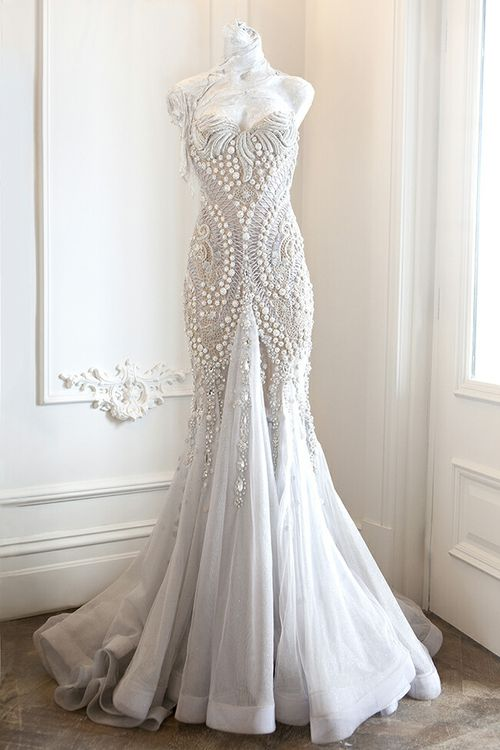 Mariage - Mermaid style white wedding gown with beads