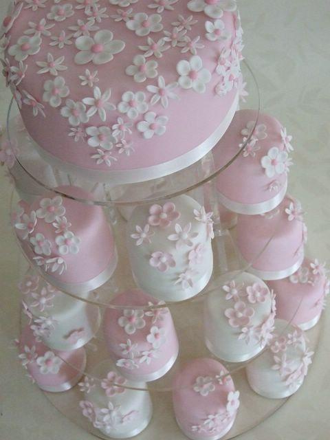 Wedding Cake Tower With Pink Cake And Cupcakes #2038876 - Weddbook
