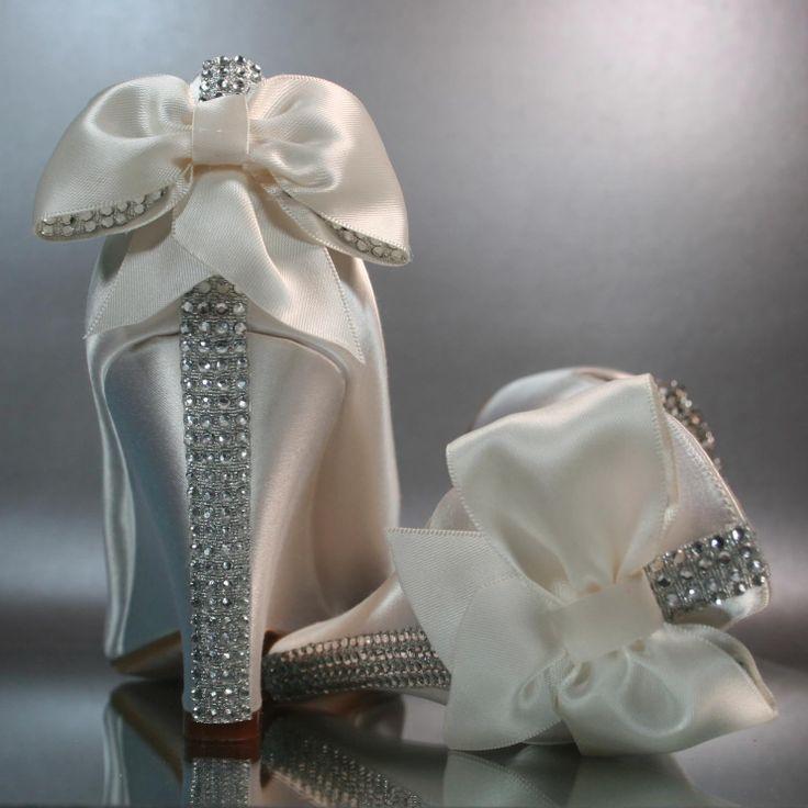 Chaussures Peeptoe De Ivoire Argent Strass Compensées Mariage Avec 0m8nwN