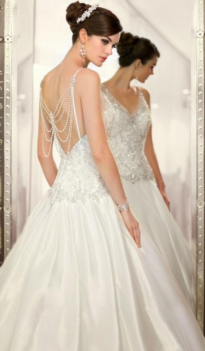 Stylish White Wedding Gown Decorated With Rhinestones #2038906 ...