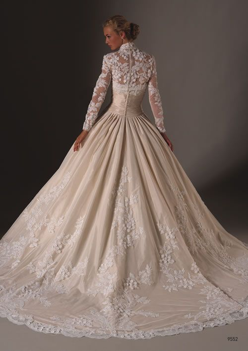 Winter Wedding - Full Sleeved White Wedding Floral Gown #2039110 ...