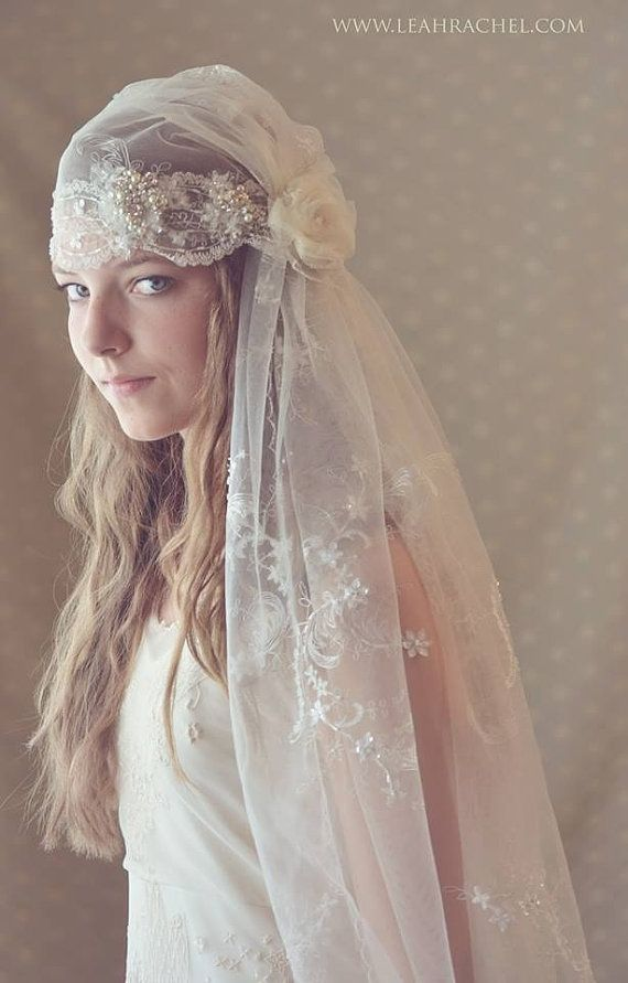 Romantic 1920s Downton Abbey Style Juliet Veil 1 Currently In Stock Ready To Ship With Pearl Rhinestone Embellishment